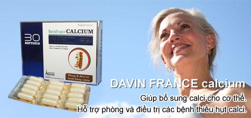 Bổ sung caxi, vitamin d3 - Davin France Calcium - Dược phẩm pháp