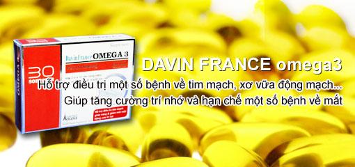 Davin France Omega 3 - Phát triển trí não, chống mỏi mắt, tốt cho tim mạch - Dược phẩm pháp